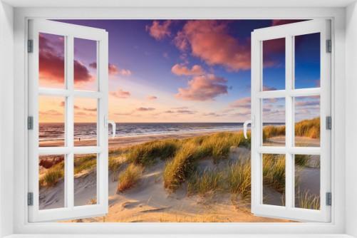 Acrylglasbild Abendspaziergang am Strand - Sonnenuntergang über dem Meer