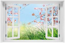 Acrylglasbild Kirschblütenzweige und grüne Wiese- Frühling