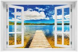 Acrylglasbild Klarer See mit Steg - Blauer Himmel