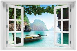 Acrylglasbild Fischerboot in Thailand  blaues Meer und Steinfelsen