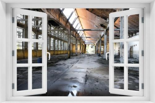 Acrylglasbild Alte Industriehalle  leerstehend und einsam