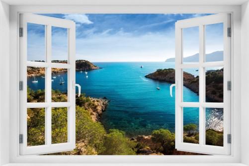 Acrylglasbild Ibiza - Blick von einer Bucht aufs Meer