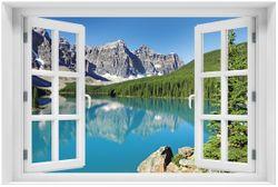 Acrylglasbild Tiefblauer See mit Bergpanorama und Wäldern – Kanada