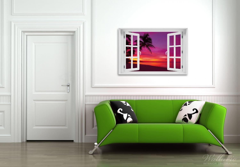 Acrylglasbild Abendrot unter Palmen - pinker Himmel am Strand