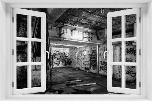 Acrylglasbild Alte verlassene Fabrik in schwarz weiß mit Graffiti