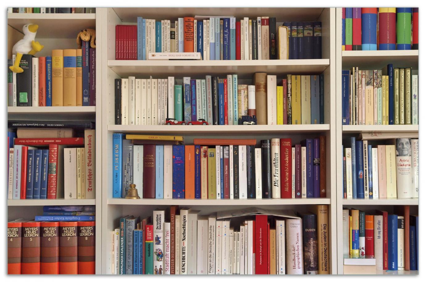 Herdabdeckplatte Weißes Bücherregal mit unterschiedlichen Büchern