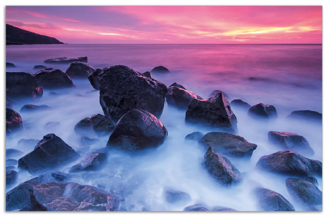 Herdabdeckplatte Felsen im Meer bei Sonnenuntergang – Bild 1