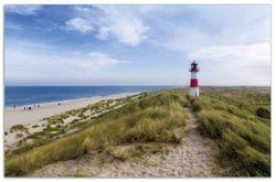 Herdabdeckplatte Am Strand von Sylt  Leuchtturm auf der Düne  Panorama – Bild 1