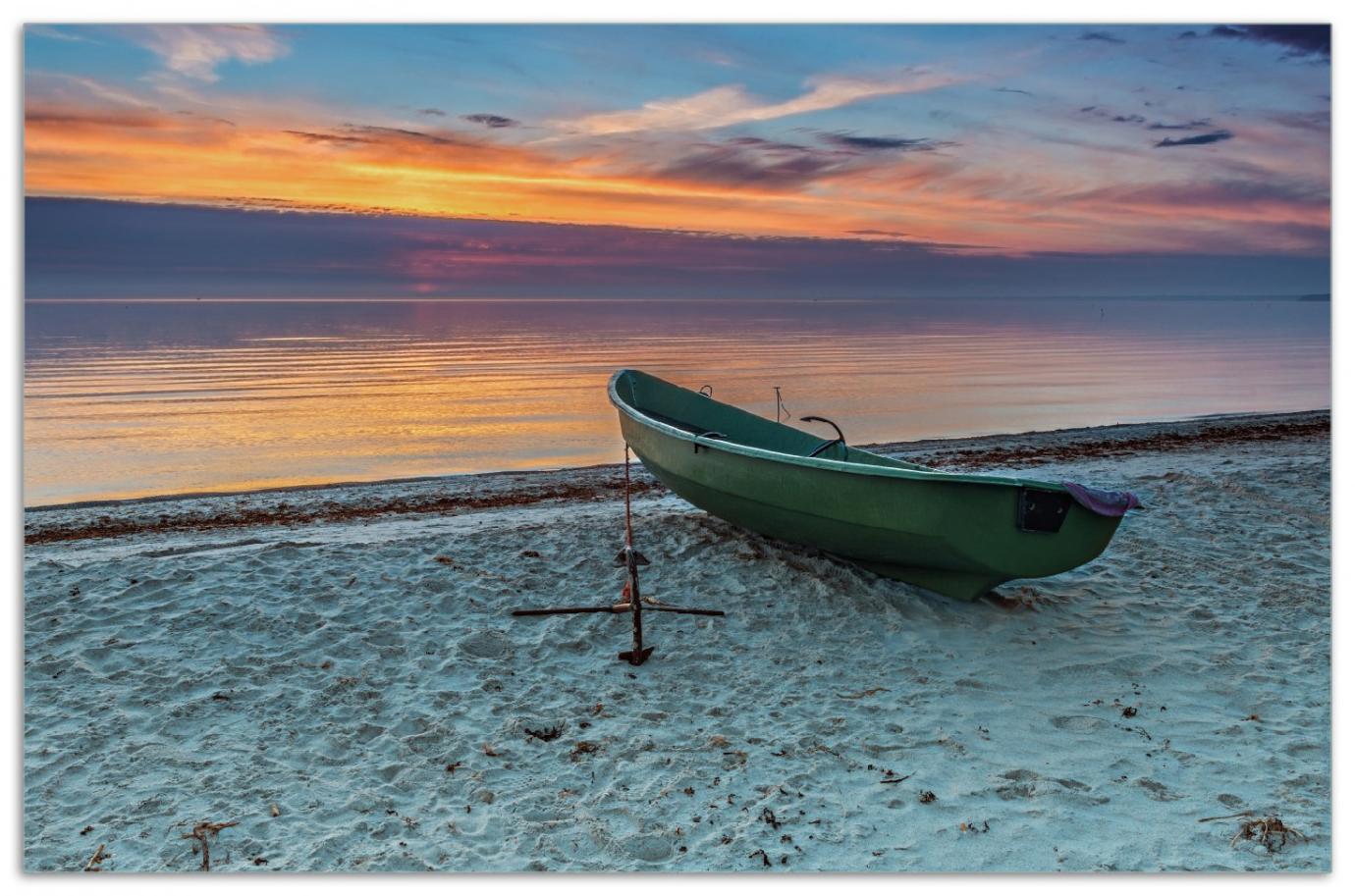 Herdabdeckplatte Einsames Fischerboot mit Anker am Strand – Bild 1