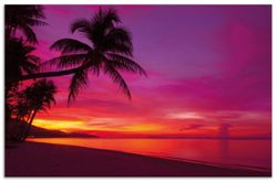 Herdabdeckplatte Abendrot unter Palmen - pinker Himmel am Strand – Bild 1