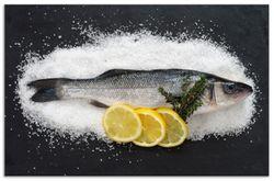 Herdabdeckplatte Fischmenü - Frischer Fisch auf Salz mit Zitronen – Bild 1