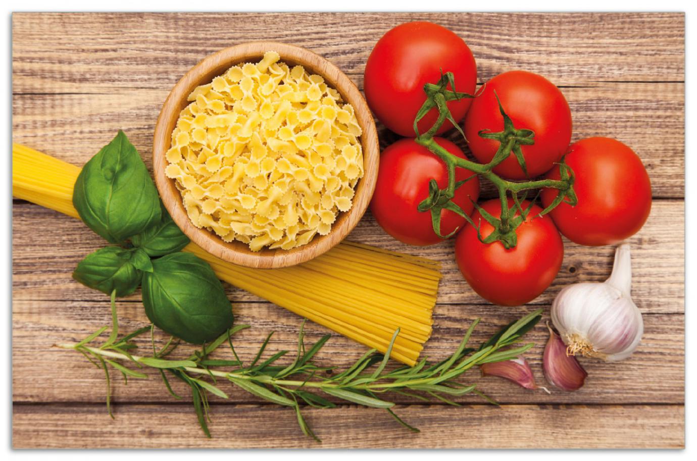 Herdabdeckplatte Spaghetti mit Tomaten, Knoblauch und Basilikum - Zutaten für ein italienisches Abendmahl – Bild 1