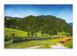 Herdabdeckplatte Eisenbahn in einer Sommerlandschaft in der Schweiz