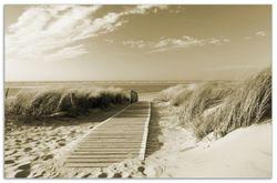 Herdabdeckplatte Auf dem Holzweg zum Strand in Sepiafarben – Bild 1