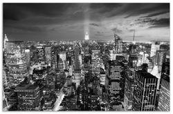 Herdabdeckplatte New York bei Nacht - Panoramablick über die Stadt - schwarzweiß – Bild 1