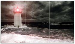 Herdabdeckplatte Leuchtturm im Wasser bei stürmischer See