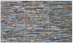 Herdabdeckplatte Natursteinmauer in grau braun