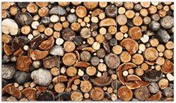 Herdabdeckplatte Dunkler Holzstapel rund