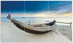 Herdabdeckplatte Fischerboot am Strand mit Sonnenuntergang