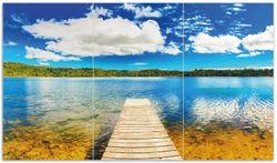 Herdabdeckplatte Klarer See mit Steg - Blauer Himmel – Bild 1