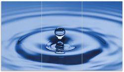 Herdabdeckplatte Wassertropfen im blauen Wasser