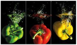 Herdabdeckplatte Bunte Küche  Paprika in rot  gelb  orange und grün im Wasser