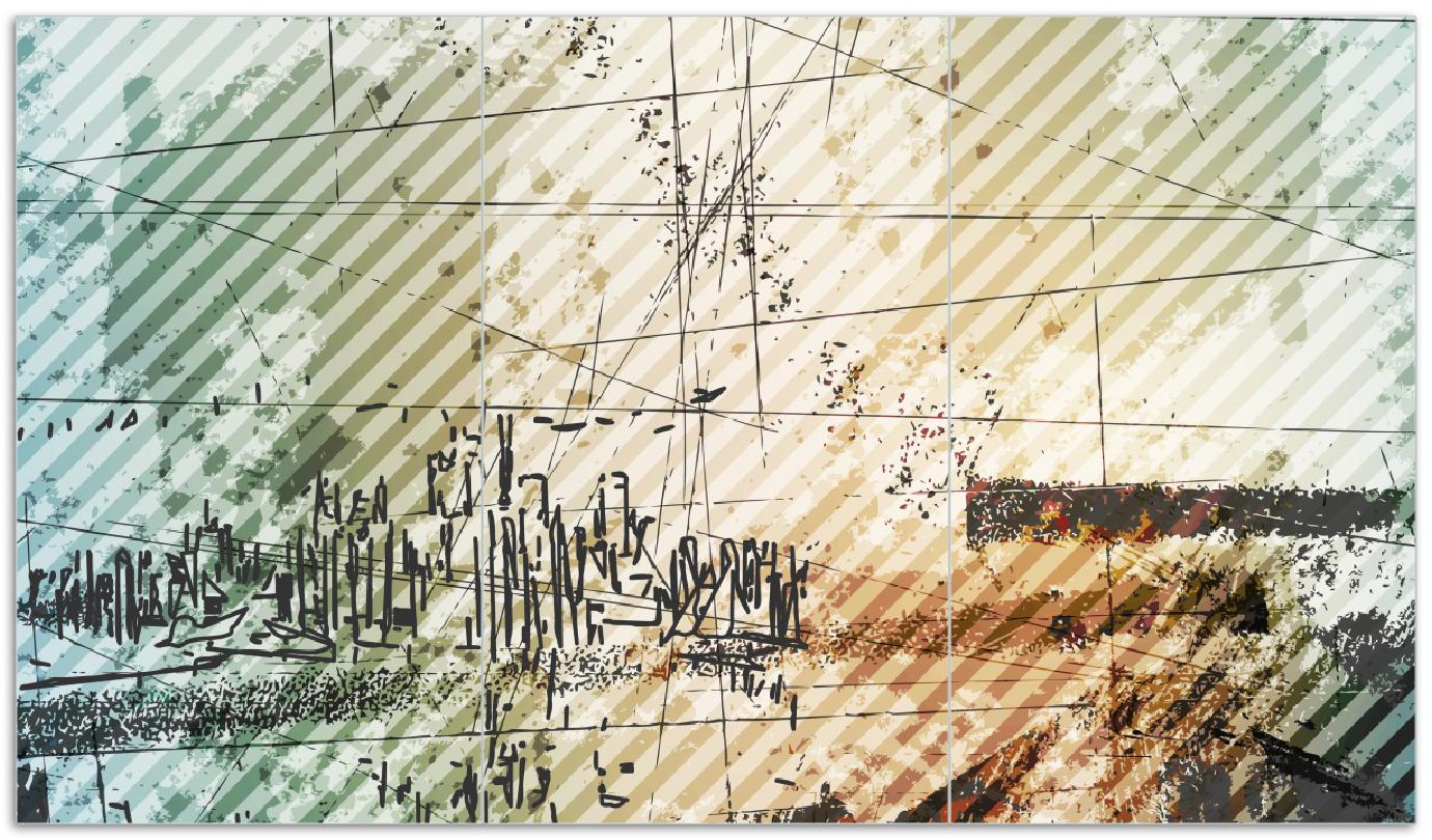 Herdabdeckplatte Grunge Stil  Streifen Schrift und Muster – Bild 1