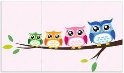 Herdabdeckplatte Eulenfamilie auf einem Ast  Comic Stil