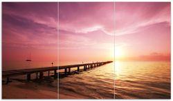 Herdabdeckplatte Auf dem Weg zur Sonne  Steg am Meer – Bild 1