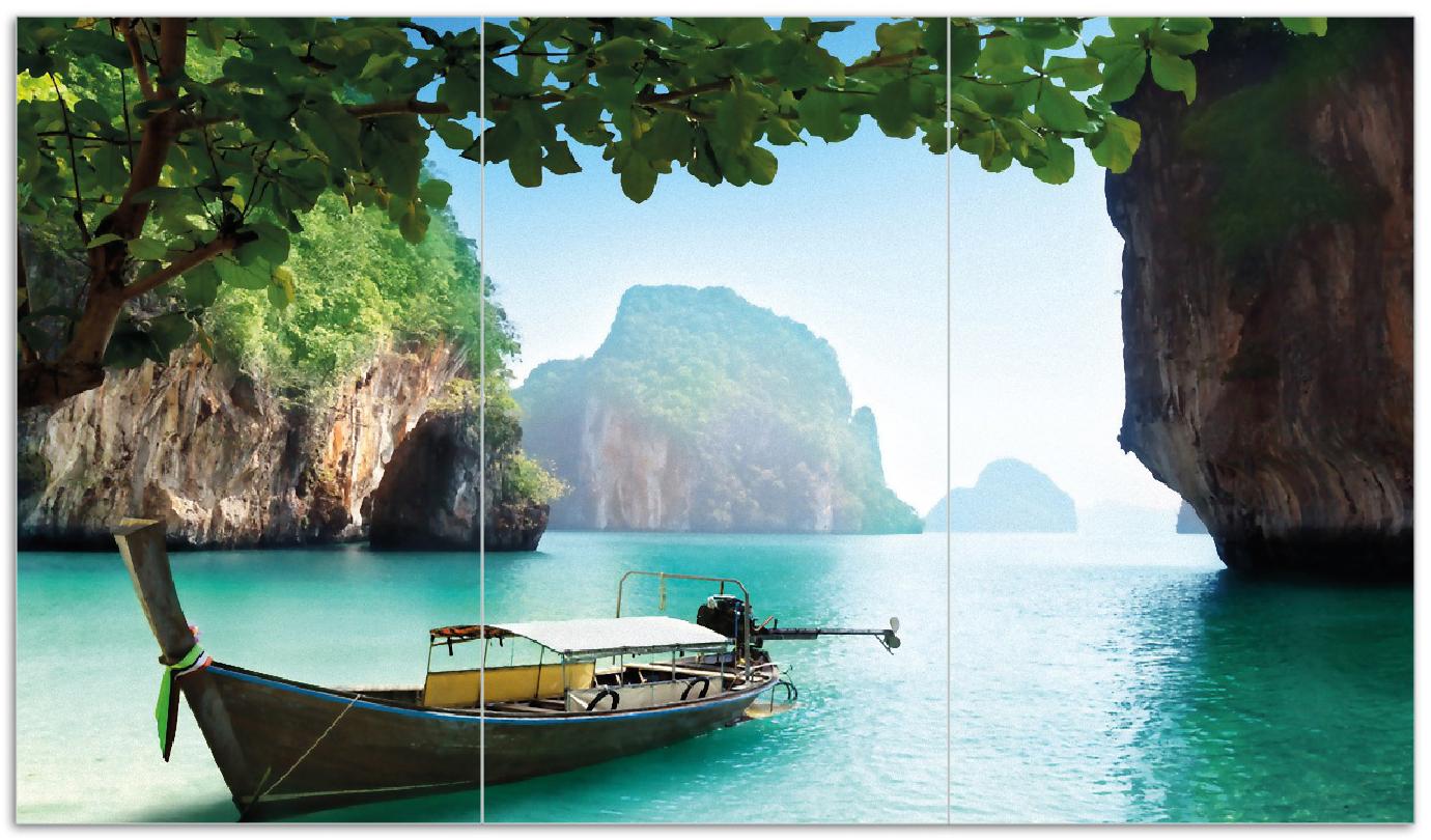 Herdabdeckplatte Fischerboot in Thailand  blaues Meer und Steinfelsen – Bild 1