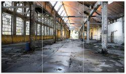 Herdabdeckplatte Alte Industriehalle  leerstehend und einsam