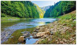 Herdabdeckplatte Fluss in den Bergen an steinigem Ufer – Bild 1