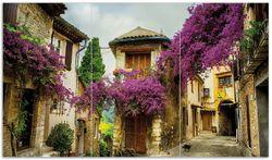 Herdabdeckplatte Malerische Stadt in der Provence mit bunten Blumen – Bild 1
