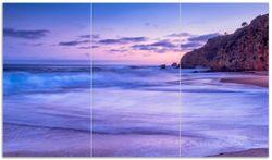 Herdabdeckplatte Kalifornischer Strand am Abend mit Felsenküste