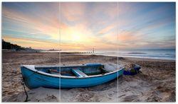 Herdabdeckplatte Fischerboot am Strand bei Sonnenuntergang – Bild 1