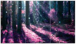 Herdabdeckplatte Fantasie im Wald - Pinke Blumen in der Sonne – Bild 1