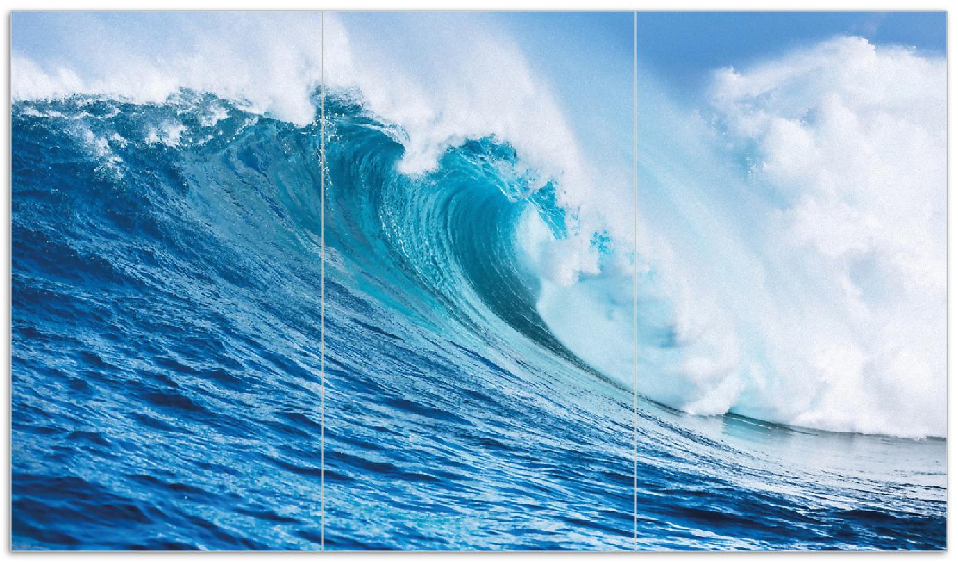 Herdabdeckplatte Eindrucksvolle Welle im Ozean – Bild 1