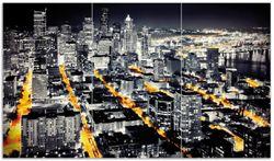 Herdabdeckplatte Großstadt bei Nacht - Seattle in schwarz weiß gelb – Bild 1
