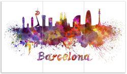 Herdabdeckplatte Städte als Aquarell - Skyline von Barcelona
