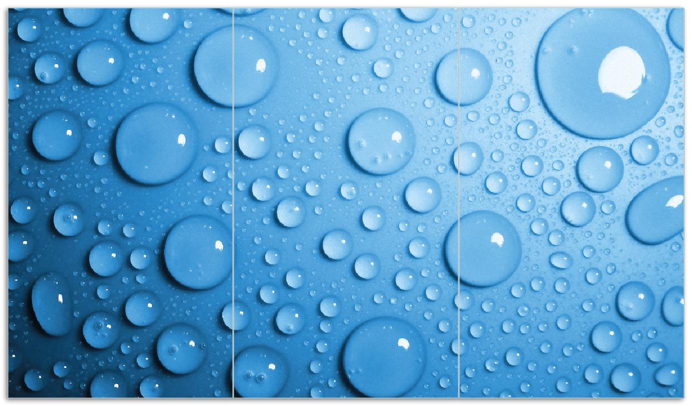 Herdabdeckplatte Wassertropfen auf Blau – Bild 1