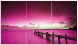 Herdabdeckplatte Steg bei Abenddämmerung -Himmel bei Nacht  Lila gefärbt