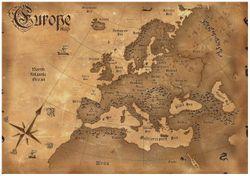 Wandbild Alte Weltkarte   Karte von Europa in englisch – Bild 1