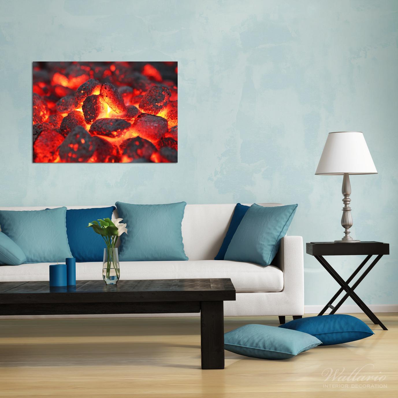 Wandbild Glühende Kohlen im Kamin – Bild 2