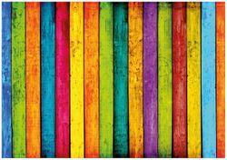 Wandbild Buntes Holz - bunte Streifen mit Farbe und Holzstruktur – Bild 1