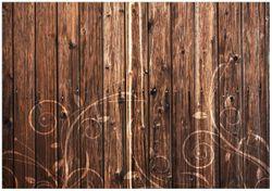 Wandbild Holz in dunkelbraun mit Blumenmuster - Schnörkel – Bild 1