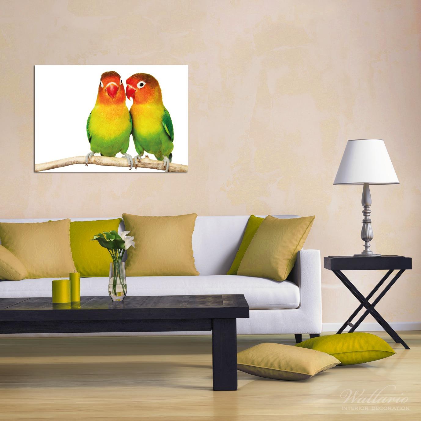 Wandbild Papageien auf dem dünnen Ast – Bild 2