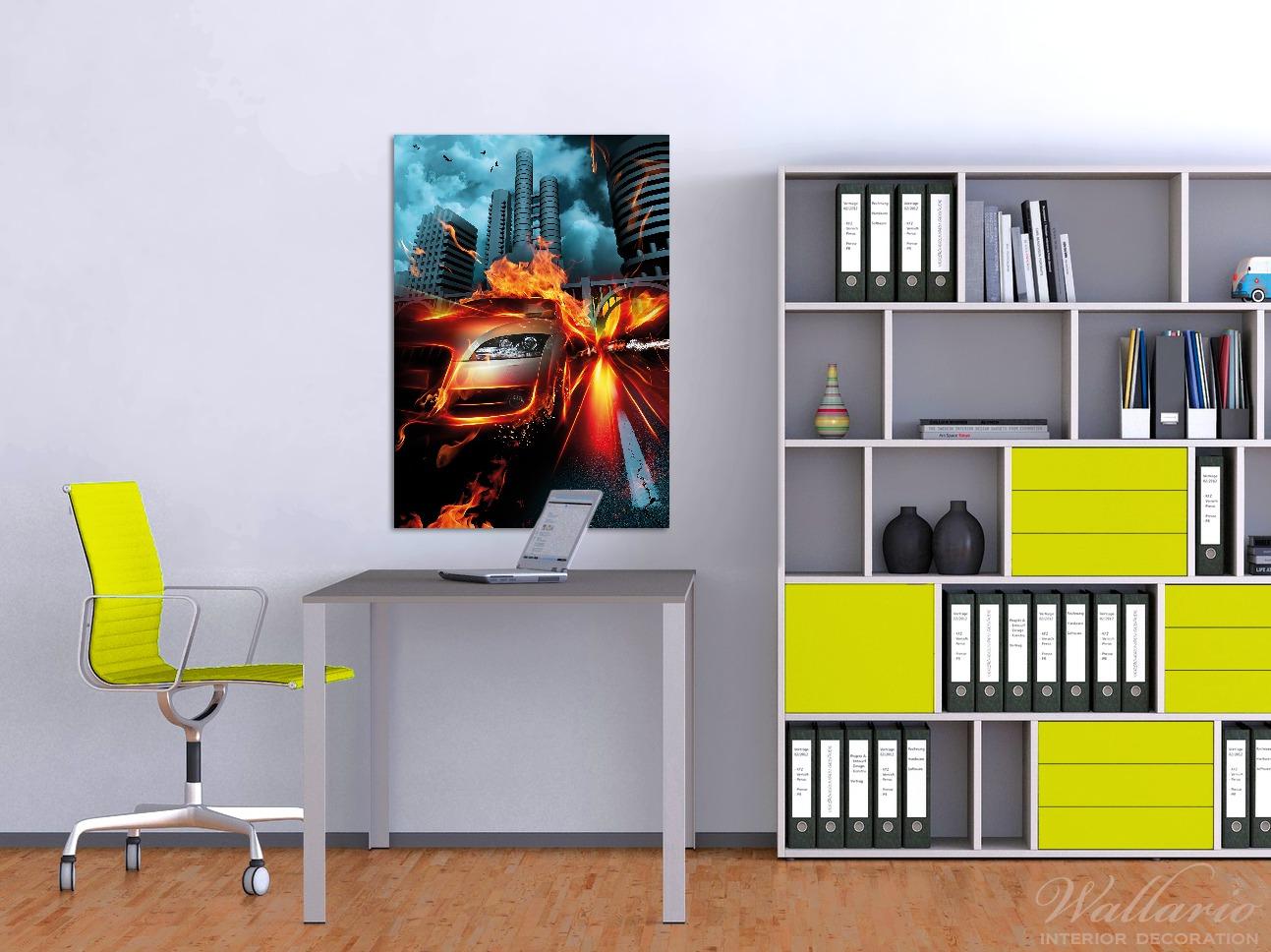 Wandbild Brennendes  fahrendes Auto – Bild 2
