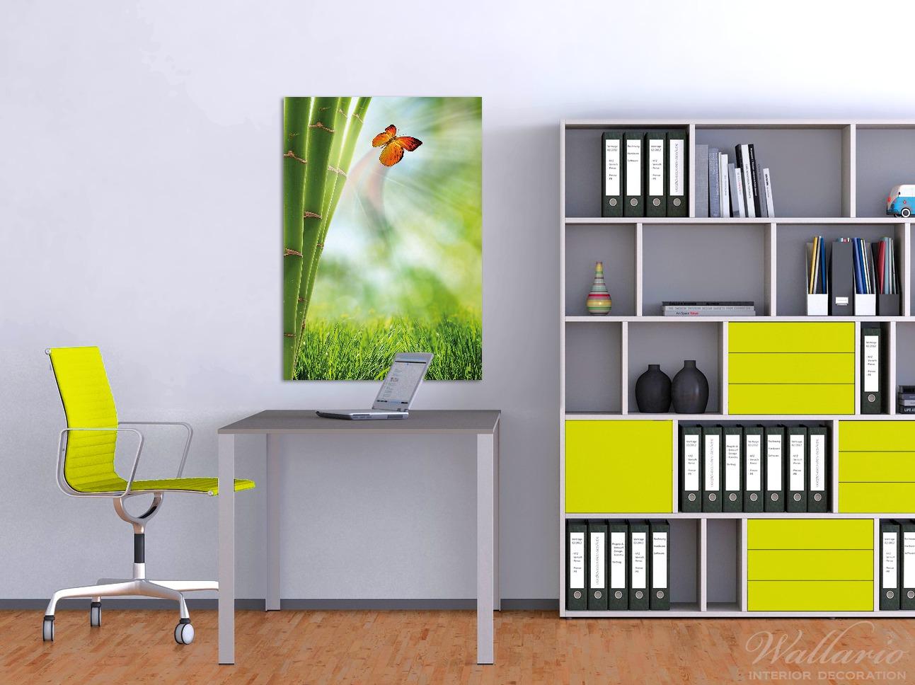 Wandbild Schmetterling im Grünen mit Bambus – Bild 2