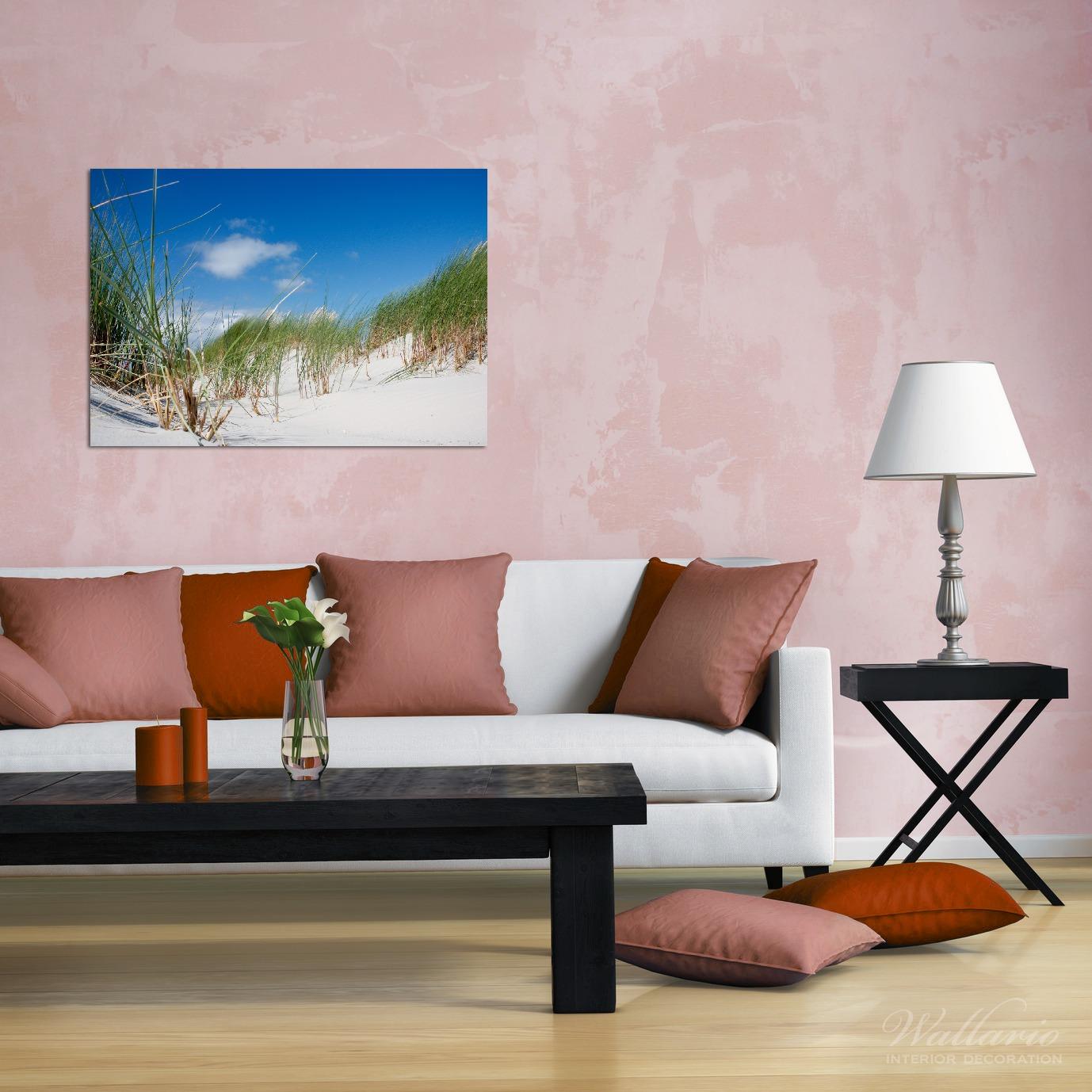 Wandbild Düne am Strand unter blauem Himmel – Bild 2