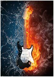 Wandbild Feuer-Wasser-Gitarre – Bild 1